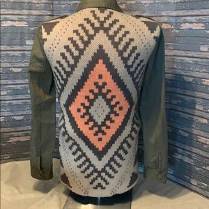 Blu Pepper jacket with Aztec print sweater back.